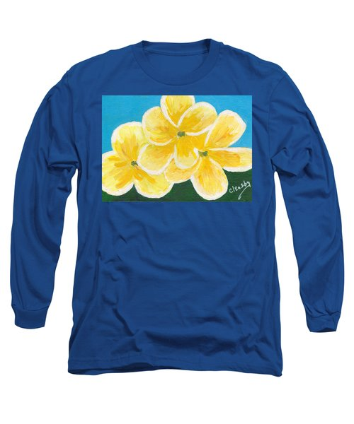 Long Sleeve T-Shirt featuring the painting Three Flowers On Blue by Patricia Cleasby