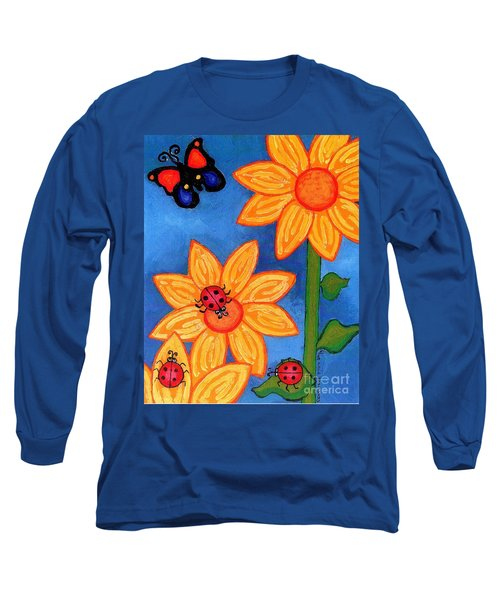 Three Ladybugs And Butterfly Long Sleeve T-Shirt by Genevieve Esson