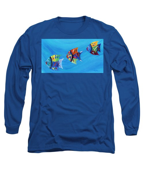 Long Sleeve T-Shirt featuring the painting Three Little Fishy's by Jamie Frier