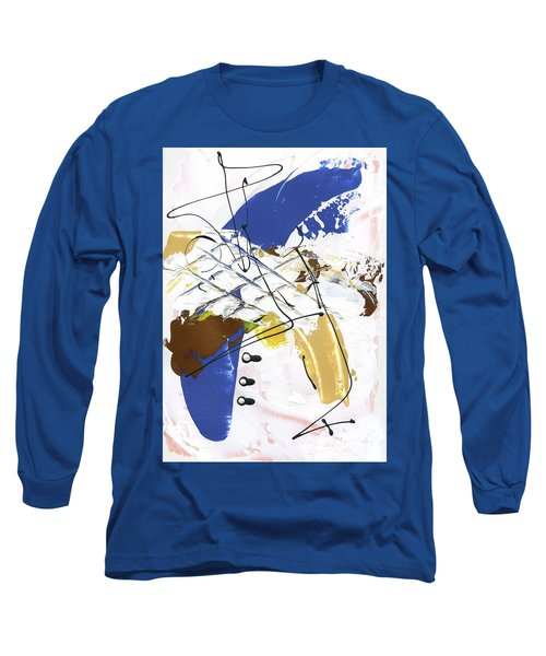 Long Sleeve T-Shirt featuring the painting Three Color Palette Blue 3 by Michal Mitak Mahgerefteh