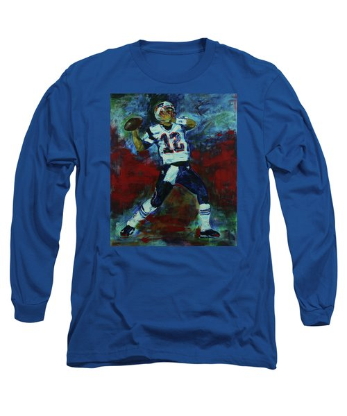 Long Sleeve T-Shirt featuring the painting Tom Brady - Patriot Football by Walter Fahmy