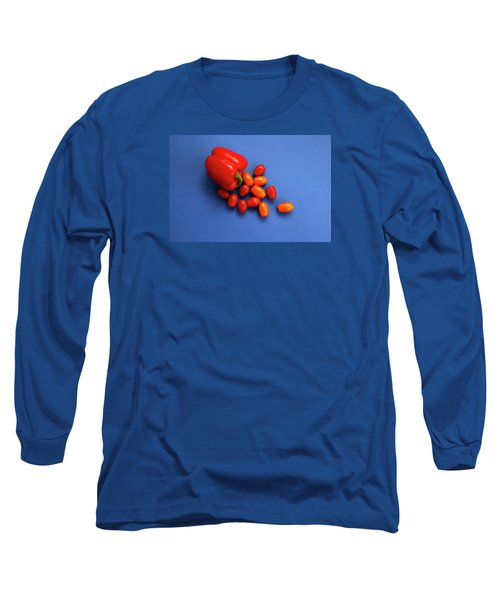 Tomatoes And Capsicum On Blue Long Sleeve T-Shirt