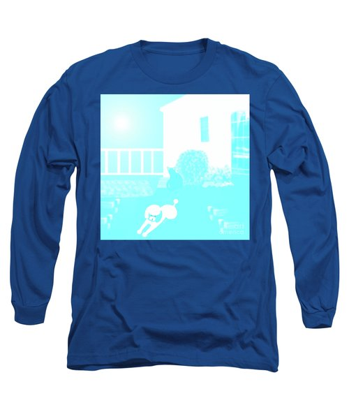 Toy Poodle Louie And Black Cat Jessica In The Yard Long Sleeve T-Shirt