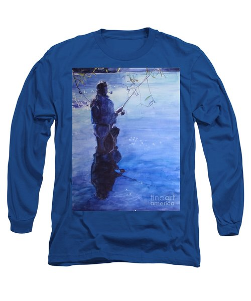 Watercolor Tranquil Fishing Long Sleeve T-Shirt