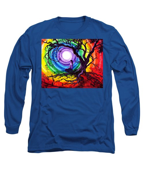 Tree Of Life Meditation Long Sleeve T-Shirt by Laura Iverson