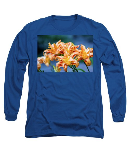 Triple Lilies Long Sleeve T-Shirt by Linda Segerson