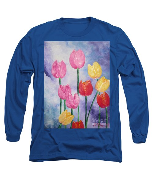 Long Sleeve T-Shirt featuring the painting Tulips - Red-yellow-pink by Sigrid Tune