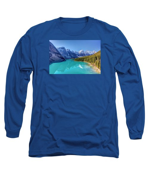 Turquoise Splendor Moraine Lake Long Sleeve T-Shirt by Pierre Leclerc Photography
