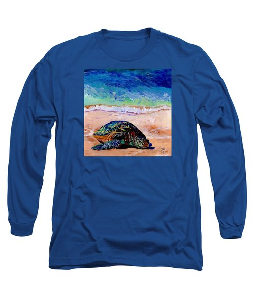 Long Sleeve T-Shirt featuring the painting Turtle At Poipu Beach 9 by Marionette Taboniar