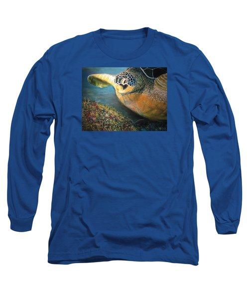 Long Sleeve T-Shirt featuring the painting Turtle Run by Karen Zuk Rosenblatt