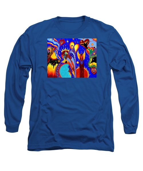 Long Sleeve T-Shirt featuring the painting Angel Fire by Marina Petro