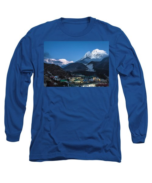 Twilight Over Pangboche In Nepal Long Sleeve T-Shirt