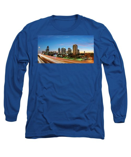 Twilight Panorama Of Uptown Houston Business District And Galleria Area Skyline Harris County Texas Long Sleeve T-Shirt