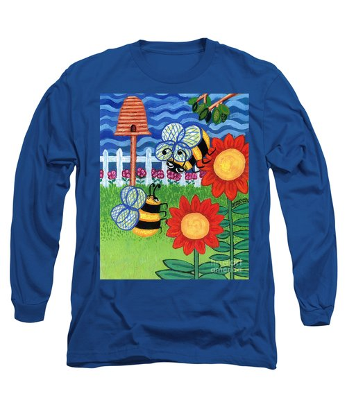 Two Bees With Red Flowers Long Sleeve T-Shirt