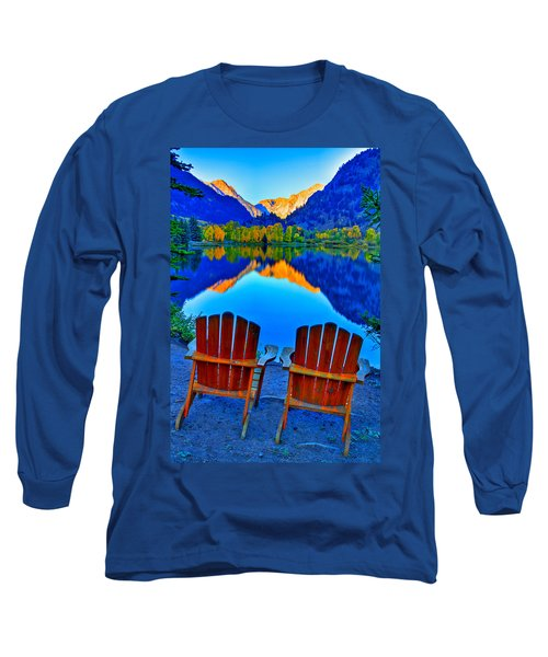 Two Chairs In Paradise Long Sleeve T-Shirt by Scott Mahon