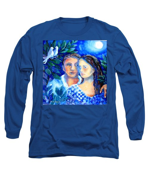 Long Sleeve T-Shirt featuring the painting Two Turtle Doves  by Trudi Doyle
