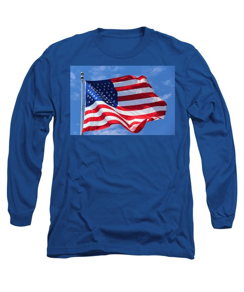 Long Sleeve T-Shirt featuring the photograph United States Flag by Elizabeth Budd