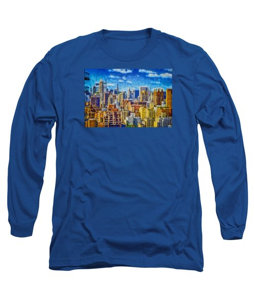 Long Sleeve T-Shirt featuring the digital art Upper Eastside Skyline by Kai Saarto