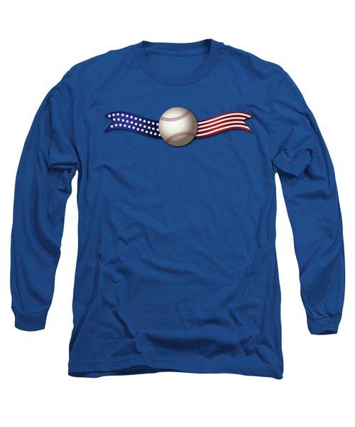 Long Sleeve T-Shirt featuring the digital art Usa Baseball by Ericamaxine Price
