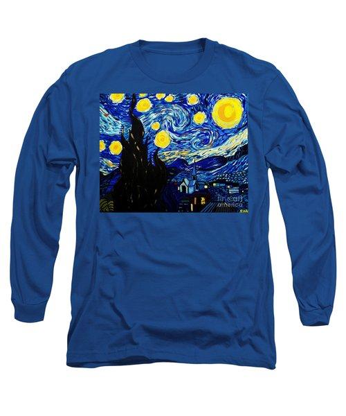 Van Gogh Starry Night  Long Sleeve T-Shirt by Scott D Van Osdol