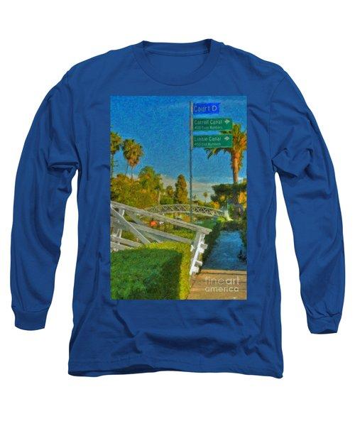 Long Sleeve T-Shirt featuring the photograph Venice Canal Bridge Signs by David Zanzinger
