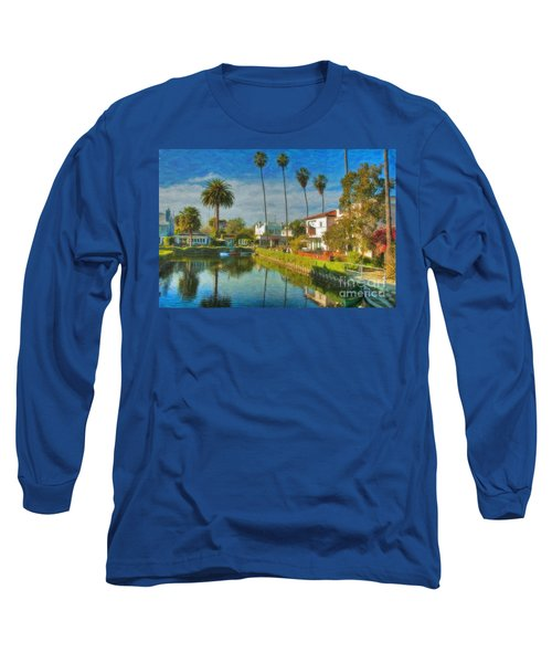 Venice Canal Houses Watercolor  Long Sleeve T-Shirt by David Zanzinger