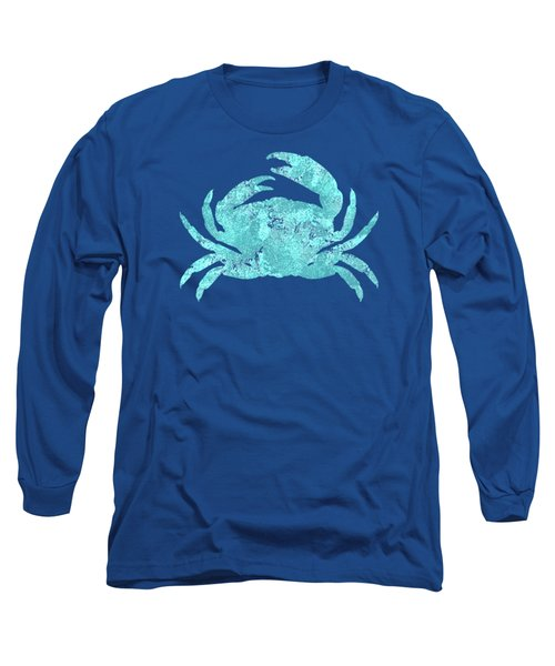 Vibrant Blue Crab Beach House Coastal Art Long Sleeve T-Shirt