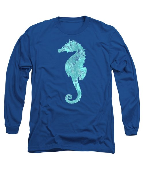 Vibrant Blue Seahorse Beach House Coastal Art Long Sleeve T-Shirt
