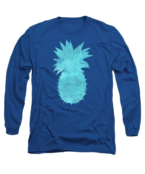 Vibrant Blue Tropical Pineapple Beach House Coastal Art Long Sleeve T-Shirt