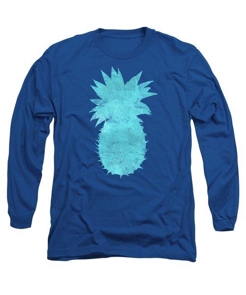 Vibrant Blue Tropical Pineapple Beach House Coastal Art Long Sleeve T-Shirt