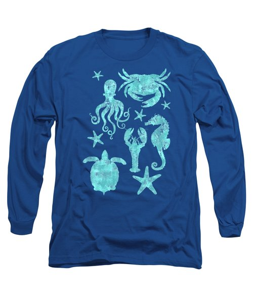Vibrant Marine Life Beach House Coastal Art Long Sleeve T-Shirt