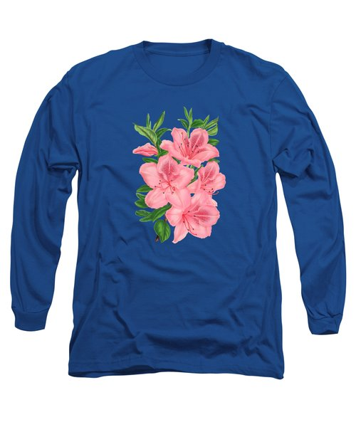 Victorian Pink Flowers On Navy Long Sleeve T-Shirt