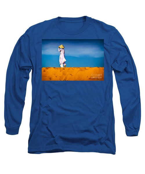 Vietnamese Woman In The Red Sand Dunes Mui Ne Vietnam Long Sleeve T-Shirt