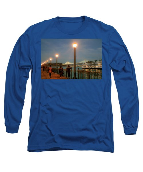 Viewing The Bay Bridge Lights Long Sleeve T-Shirt