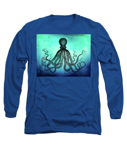 Vintage Octopus On Blue Green Watercolor Long Sleeve T-Shirt