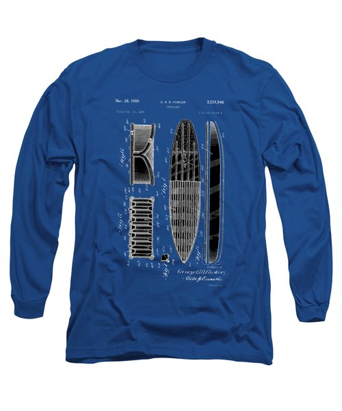Long Sleeve T-Shirt featuring the photograph Vintage Surf Board Patent 1950 by Bill Cannon
