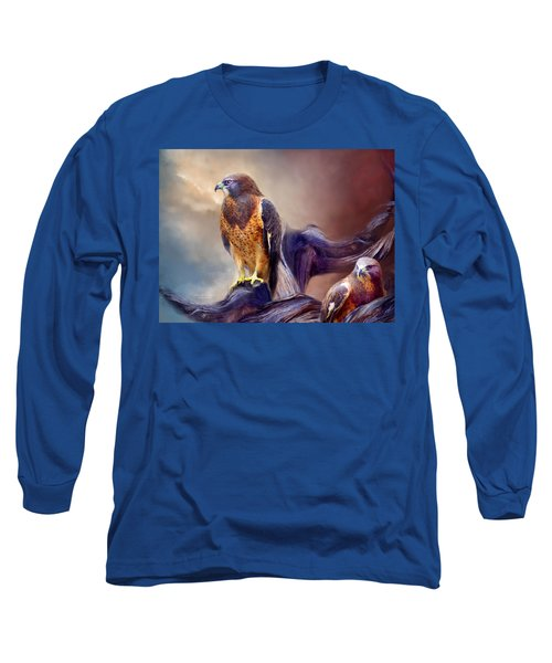 Long Sleeve T-Shirt featuring the mixed media Vision Of The Hawk 2 by Carol Cavalaris
