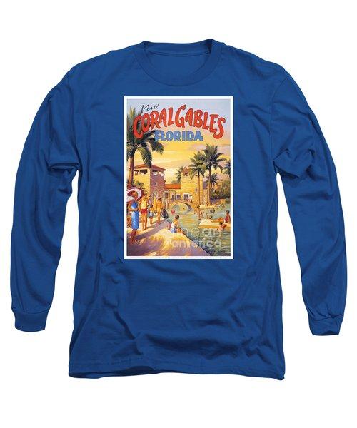 Visit Coral Gables-florida Long Sleeve T-Shirt by Nostalgic Prints