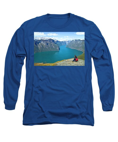 Visitor At Aurlandsfjord Long Sleeve T-Shirt by Heiko Koehrer-Wagner