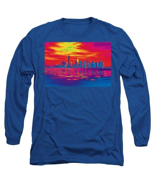 Vivid Skyline Of New York City, United States Long Sleeve T-Shirt