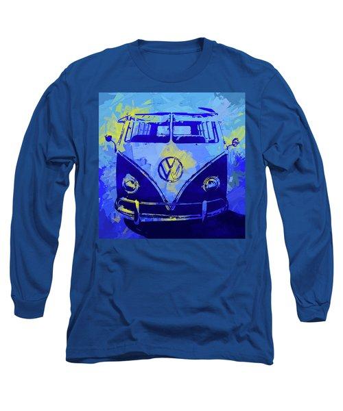 Volkswagen Bus Pop Blue Long Sleeve T-Shirt