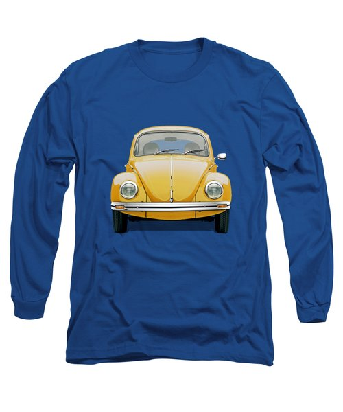 Long Sleeve T-Shirt featuring the digital art Volkswagen Type 1 - Yellow Volkswagen Beetle On Blue Canvas by Serge Averbukh