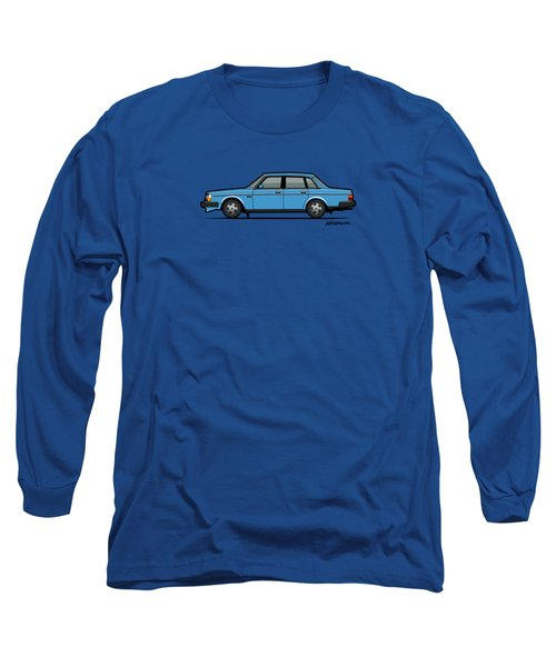Volvo Brick 244 240 Sedan Brick Blue Long Sleeve T-Shirt by Monkey Crisis On Mars