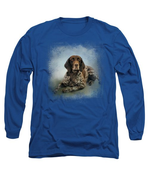 Waiting For A Cue - German Shorthaired Pointer Long Sleeve T-Shirt by Jai Johnson