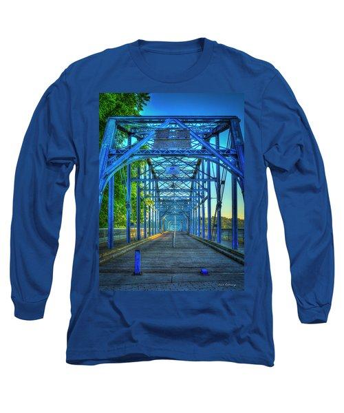 Walking Tall Walnut Street Pedestrian Bridge Art Chattanooga Tennessee Long Sleeve T-Shirt by Reid Callaway