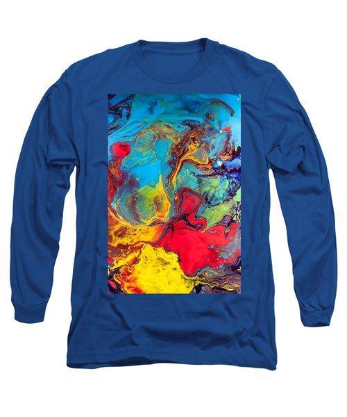 Wanderer - Abstract Colorful Mixed Media Painting Long Sleeve T-Shirt by Modern Art Prints