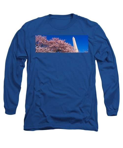 Washington Monument & Spring Cherry Long Sleeve T-Shirt by Panoramic Images