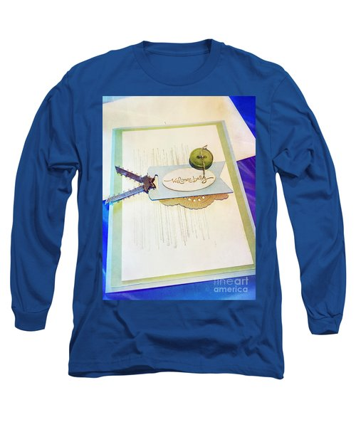 Welcome New Baby Handmade Stationary Long Sleeve T-Shirt by Vizual Studio
