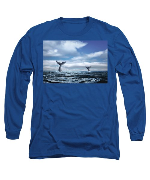 Long Sleeve T-Shirt featuring the photograph Whale Of A Tail by Tom Mc Nemar