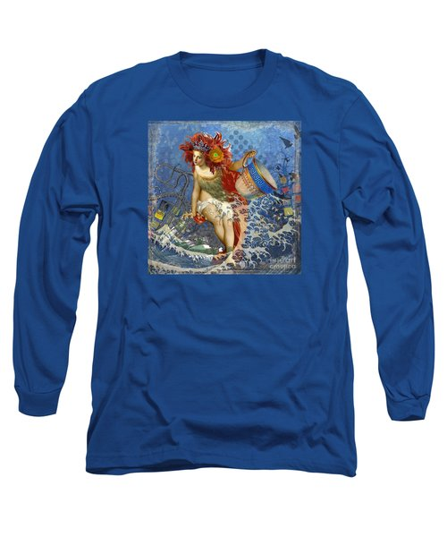 Mermaid Aquarius Vintage Whimsical Gothic Funny Long Sleeve T-Shirt by Mary Hubley